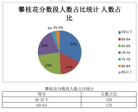 攀枝花教师考试分数段分析